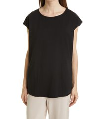 eileen fisher jewel neck boxy jersey tunic, size medium in black at nordstrom