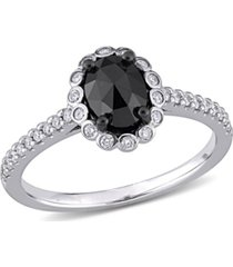 black and white diamond (1 1/5 ct. t.w.) halo engagement ring in 14k white gold