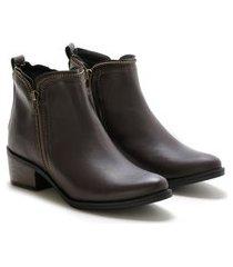 bota coturno casual feminina zíper macia leve confortável preto 34 café