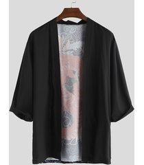 hombres kimono japonés camisa cárdigan casual dragón imprimir cárdigan delantero abierto
