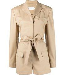 low classic tie-waist playsuit - brown