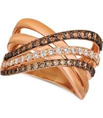 le vian creme brulee diamond crisscross ring (1-1/6 ct. t.w.) in 14k rose gold