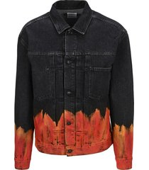 marcelo burlon flame-print denim jacket
