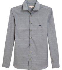 camisa dudalina manga longa jacquard fio tinto masculina (cinza medio, 7)