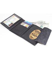 badge holder case wallet genuine leather black concealed fire security oval