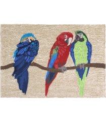 """liora manne frontporch parrots ivory 1'8"""" x 2'6"""" area rug"""