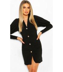 puff sleeve double breasted blazer dress, black