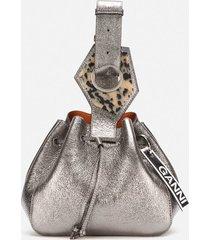 ganni women's leather drawstring bag - dark silver