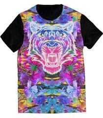 camiseta elephunk estampada neon tiger preta - kanui