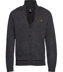 shawl neck cardigan gebreide trui cardigan grijs lyle & scott
