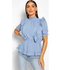 blouse met hoge hals en ruches, blauw
