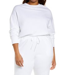 plus size women's vince essential relaxed sweatshirt, size 3x-large - white