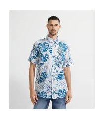 camisa manga curta em voal com estampa de folhagem | marfinno | branco | gg