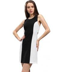 vestido bicolor crepé negro nicopoly