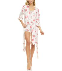 flora by flora nikrooz livia ivory wrap robe, cami & tap shorts travel pajama set