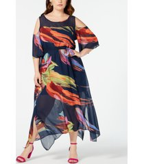 robbie bee plus size cold-shoulder printed a-line maxi dress