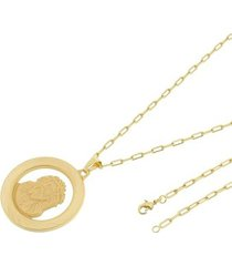 kit medalha face de cristo tudo joias com corrente cartier longa 2mm e 60cm folheado a ouro 18k