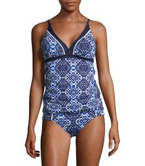 tommy bahama women's printed tankini top - mare navy - size xs