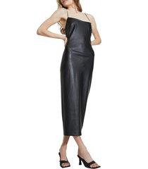 women's bardot helena faux leather sleeveless dress, size medium - black