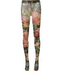 richard quinn floral -print sheer tights - green