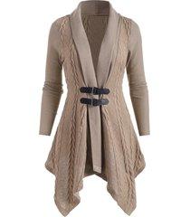 buckle shawl collar asymmetrical cardigan