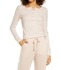 tommy john lounge henley tee, size large in rose dust at nordstrom