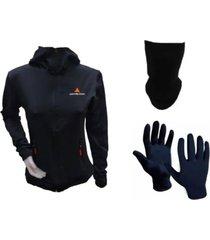 conjunto mezgo térmico mujer- campera + guante + cuello