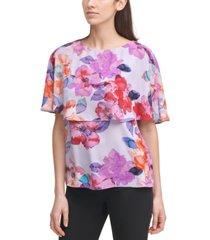 dkny floral-print cape top