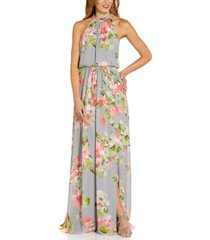 adrianna papell floral-chiffon gown