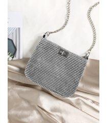 bolso de hombro tipo cubo con diseño de cadena de diamantes