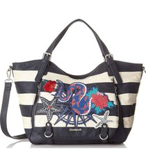 bolsa tiracolo desigual estampada azul-marinho/branca