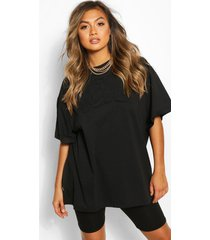 nyc embroidered slogan oversized t-shirt, black