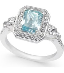 charter club gold-tone crystal & stone square halo ring, created for macy's