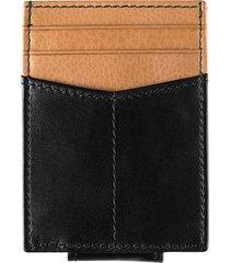 men's johnston & murphy leather money clip card case - black