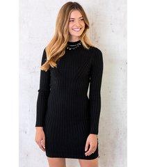 ribstof stretch jurk zwart