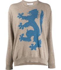 pringle of scotland lion rampant cashmere jumper - neutrals