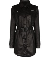 off-white belted coated-denim shirt dress - black