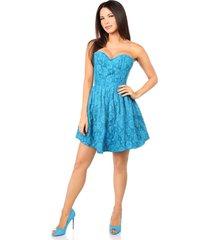 teal steel boned satin & lace empire waist corset dress regular & plus size