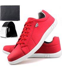 sapatenis touro boots 900 sw  vermelho + cinto + carteira - vermelho - masculino - sintã©tico - dafiti