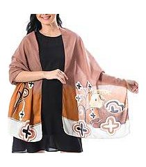 cotton batik shawl, 'brown goat' (thailand)