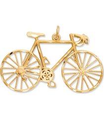 14k gold charm, diamond-cut bicycle charm