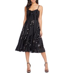 women's dress the population flora sequin fit & flare dress, size xx-large - black