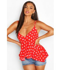 chiffon polka dot waterfall front cami top, red