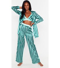 womens stay stripe there 3-pc oversized pajama set - emerald