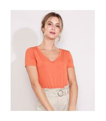 camiseta feminina básica manga curta decote v laranja