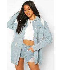 distressed longline jean jacket, light blue