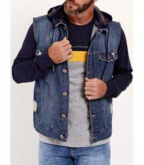 colete jeans com capuz masculino azul