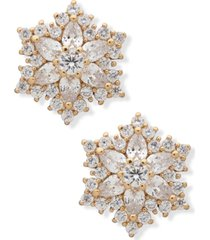 anne klein gold-tone snowflake button earrings