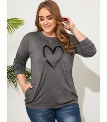 sudadera de manga larga con bolsillo lateral de corazón gris oscuro de talla grande