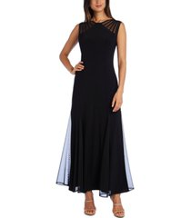 r & m richards illusion-neck fit & flare dress